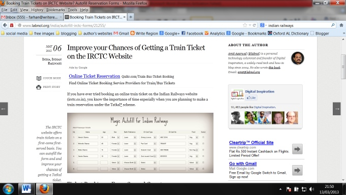 Improve Train Ticket Chance