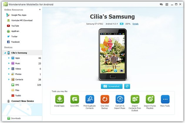 Wondershare MobileGo Android Management